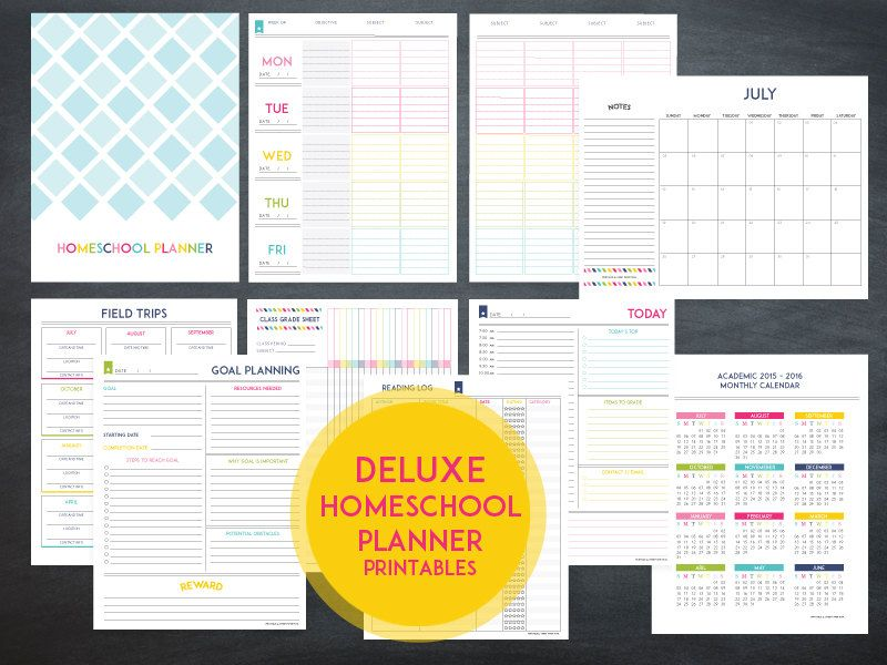 Deluxe Homeschool Planner Lesson Planner Template INSTANT - Monthly lesson plan template free