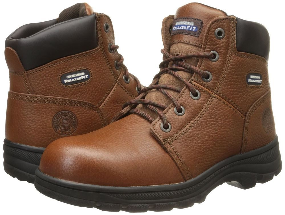 0f7d08d65ab Skechers Relaxed Fit Workshire Leather Work Boots Mens 15 Brown ...