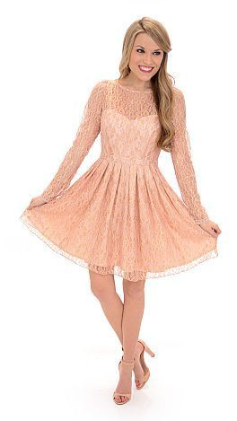 peach dress with blue shoes