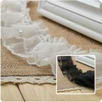 New Double Pearl Ruffle Pleated Lace Trim Skirt Edge DIY Clothing Material Width 6cm 5Yds/lot