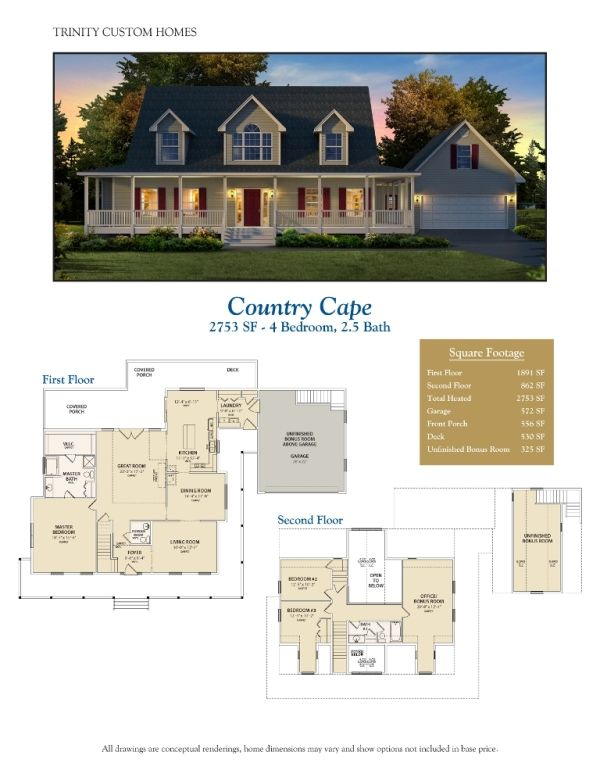 Cape cod wrap porch floor plan garage features wrap for Modified cape cod house plans