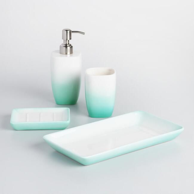 Aqua Ombre Ceramic Bath Accessories Collection Bath Accessories