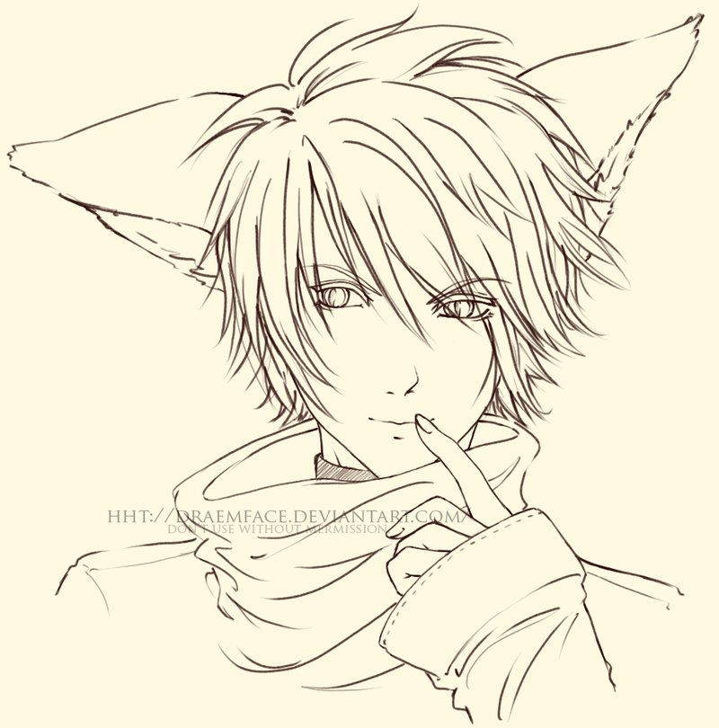 .Fox Boy. Lineart by draemface on deviantART Kitsune