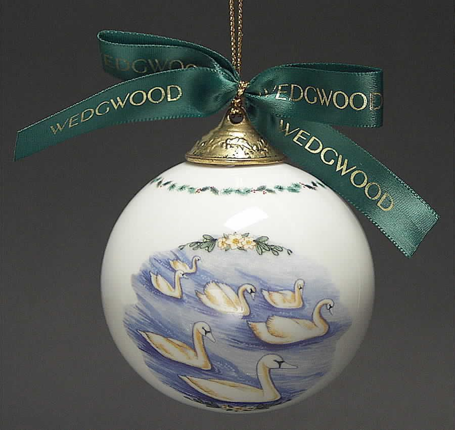 Wedgwood 12 Days Of Christmas Ornament 7 Swans 3391045