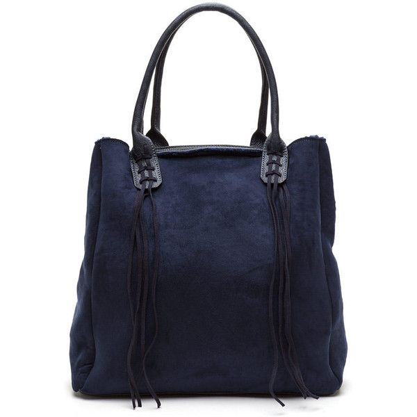 Winner Takes All Faux Suede Tote Bag Navy 25 Liked On Polyvore Featuring