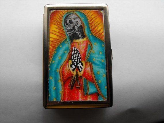 Virgin Skull Face ID Cigarette Case Wallet  CR100 by dnacreations, $11.99