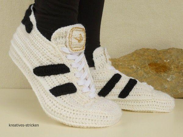 Hausschuhe Sneakers häkeln Gr. 36 45 | Schuhe häkeln