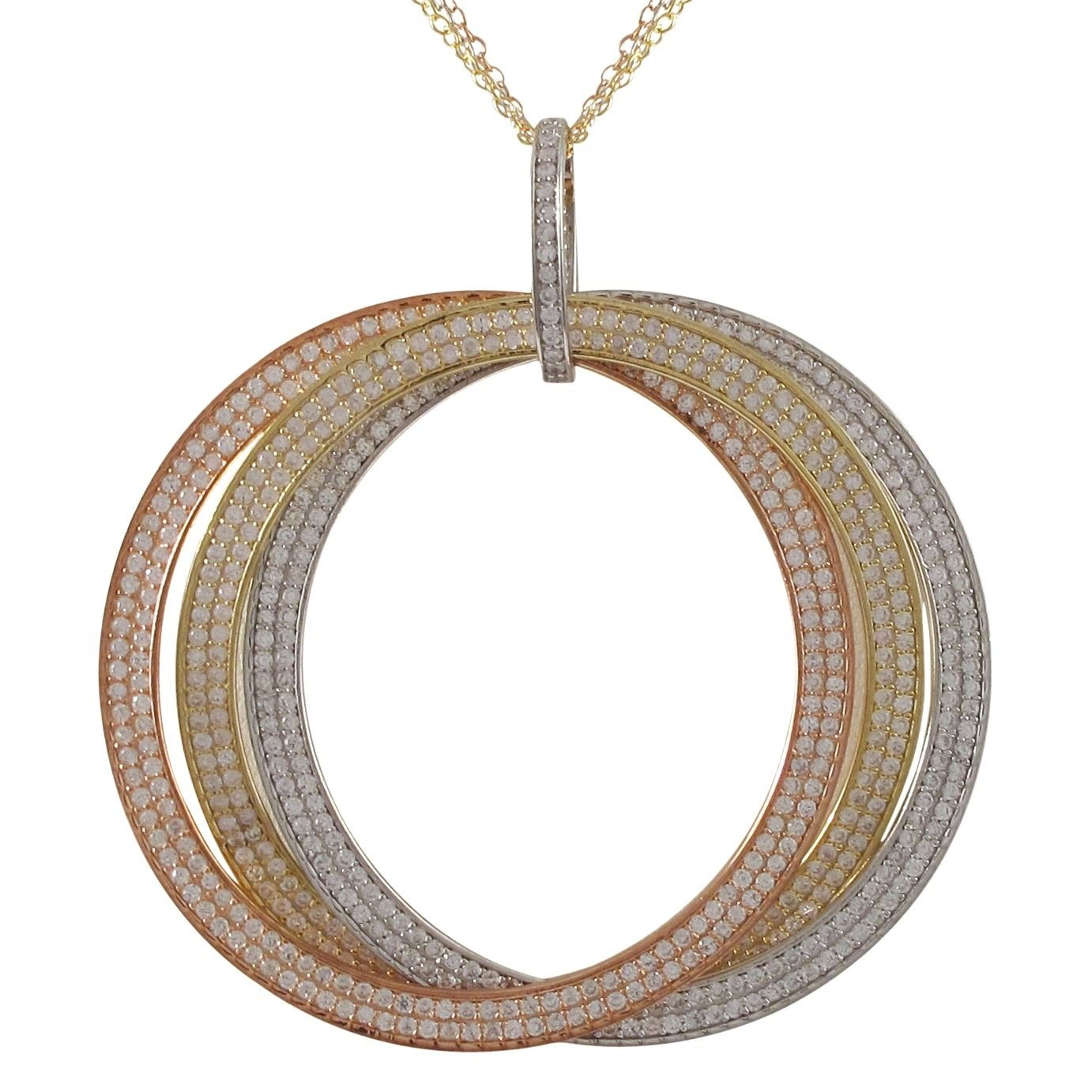Luxiro Sterling Silver Tri-color Cubic Zirconia Large Link Pendant Necklace (Large Tri Color with 3 Row Chain), Women's, Size: 18 Inch