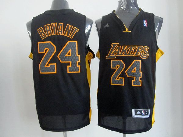 eaf6d4342e0 Adidas NBA Los Angeles Lakers 24 Kobe Bryant Swingman Black Yellow Jersey