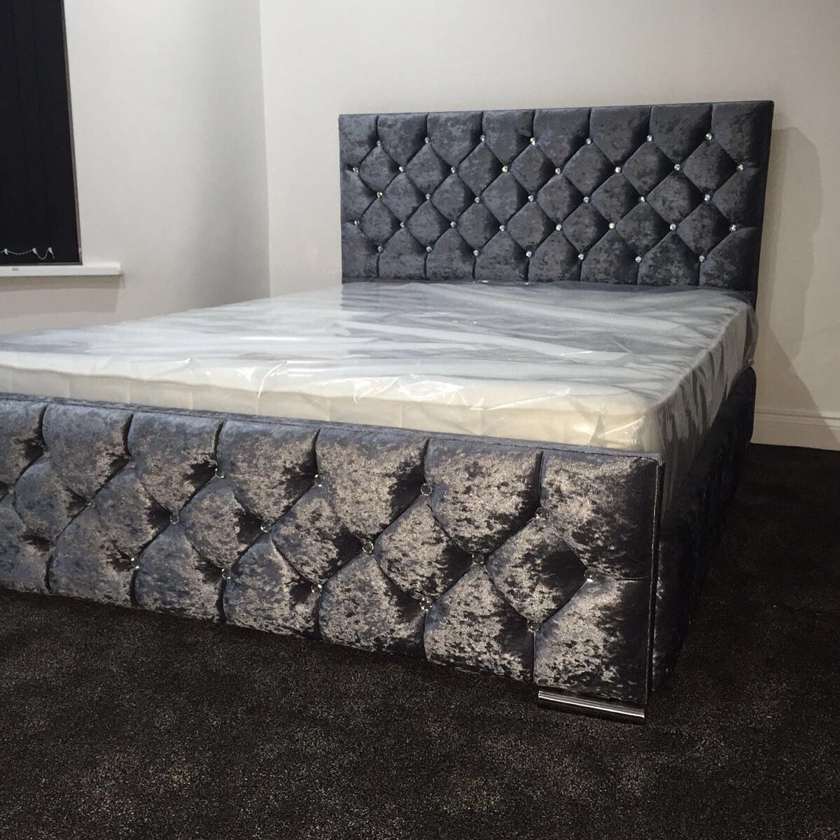 King monoco crushed velvet bed | Mink, Ranges and Number