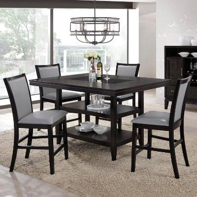 5pc Grazia Dining Set Black Gray Home Source Industries