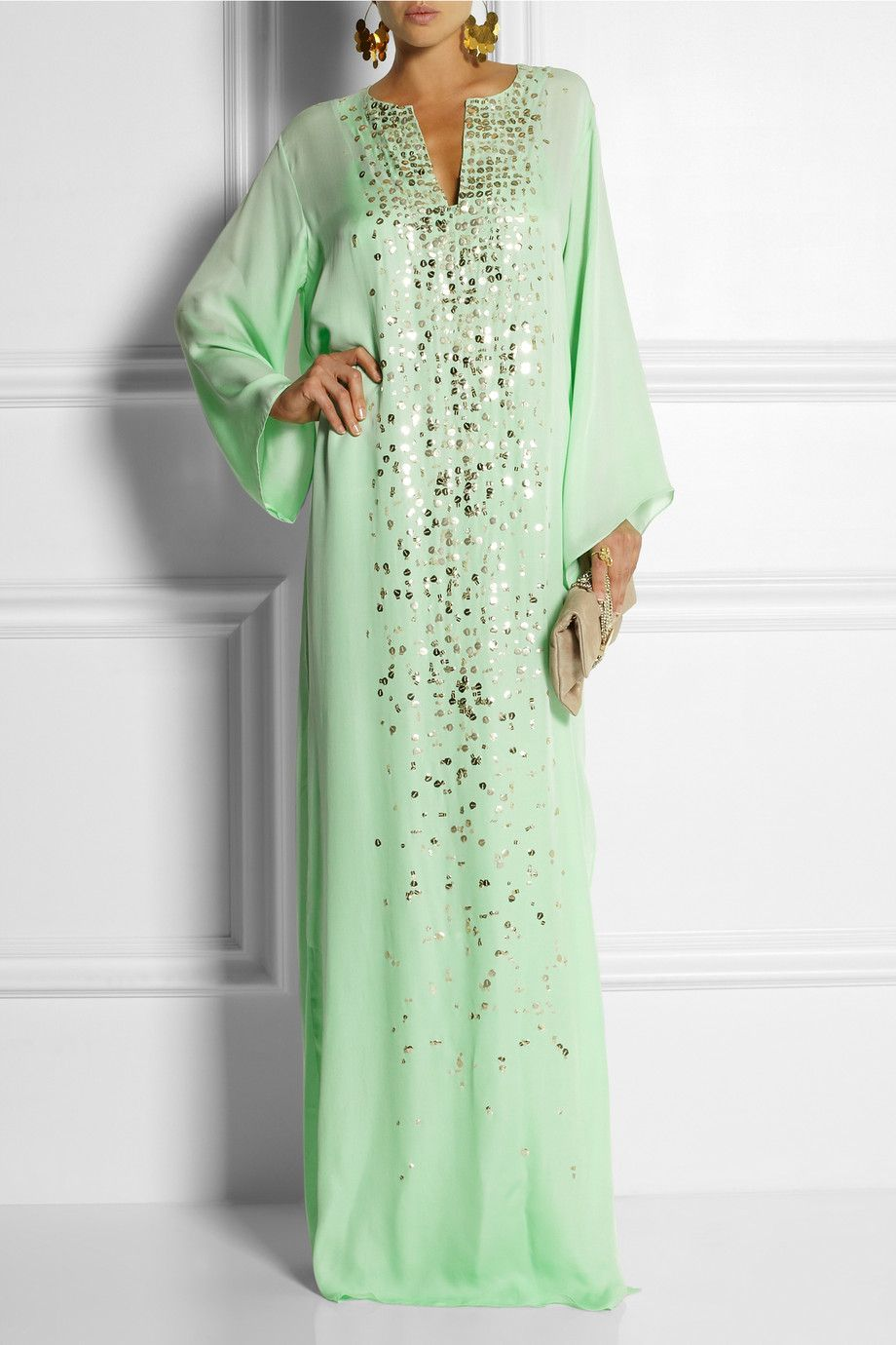 Oscar de la renta sequined silk maxi kaftan net a for Caftan avec satin de chaise