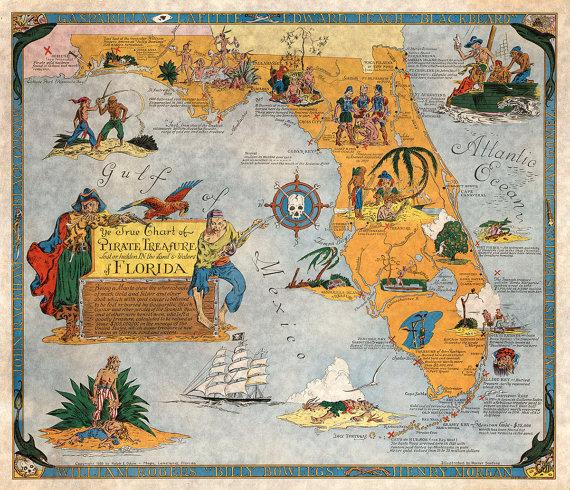 Maps Florida.Pirate Treasure Map Of Florida Ye True Chart 1950 Vintage Giclee