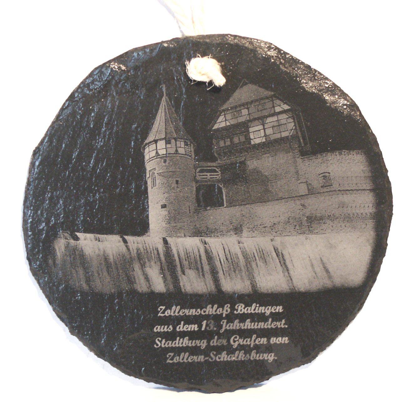 Das Zollernschloß in Balingen als Gravur auf Schiefer