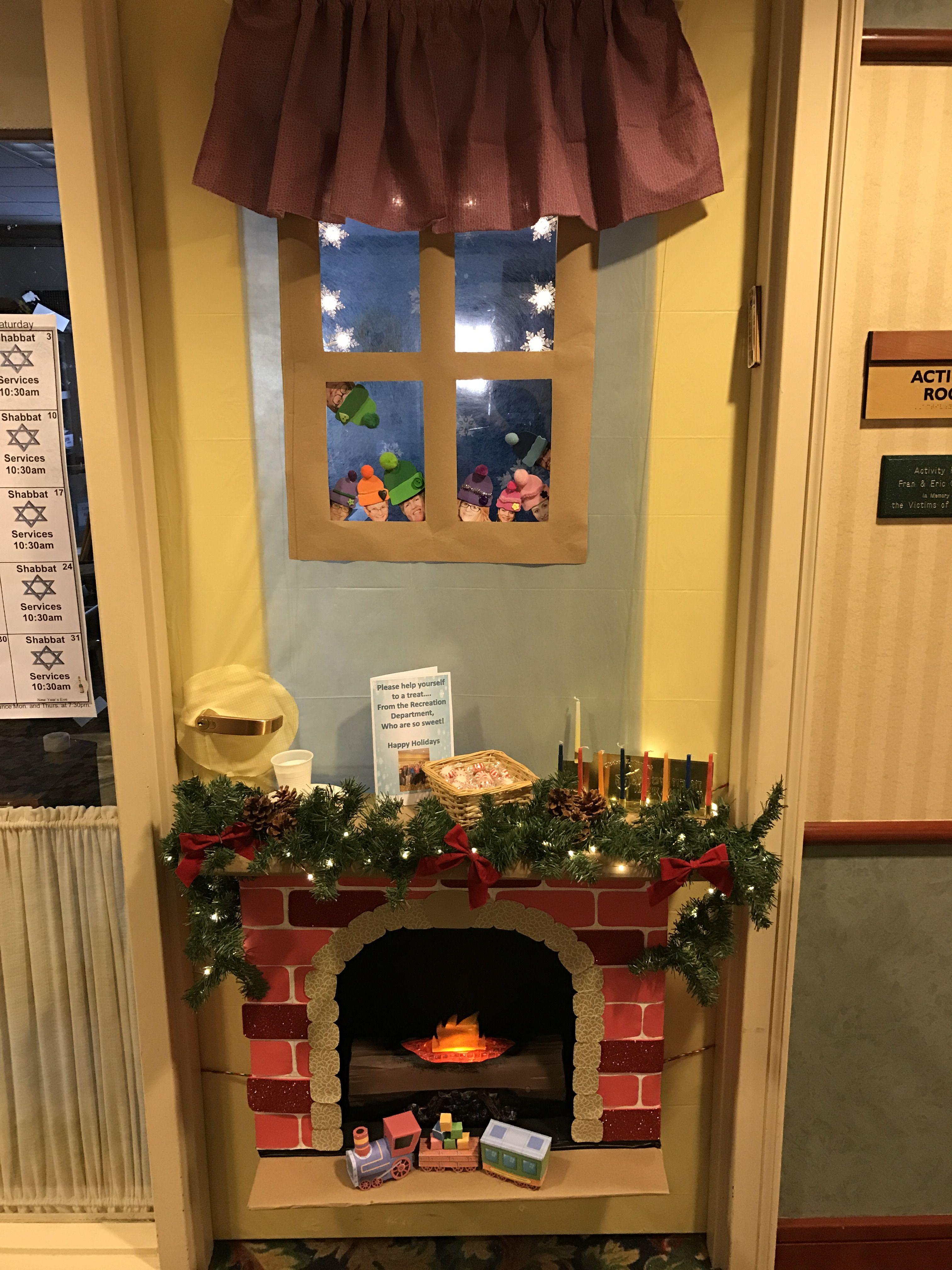 Fireplace Door Decoration Fireplace Winter Bulletin Boards
