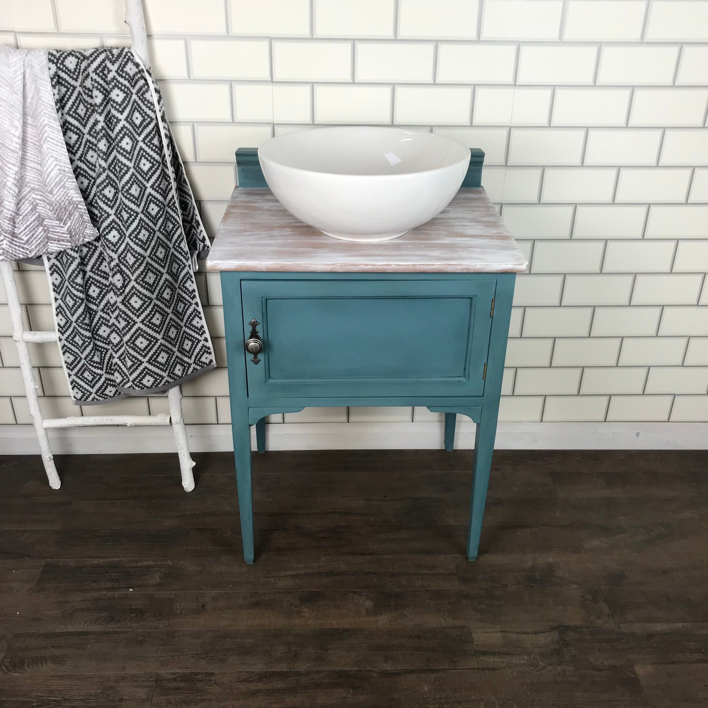 Teal Blue Vintage Small Bathroom Vanity Unit With Basin Vintage Bathroom Vanities Small Bathroom Vanities Vintage Bathrooms