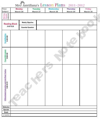 MrsSantillanasLesson Plan Format That Includes Weekly Objectives