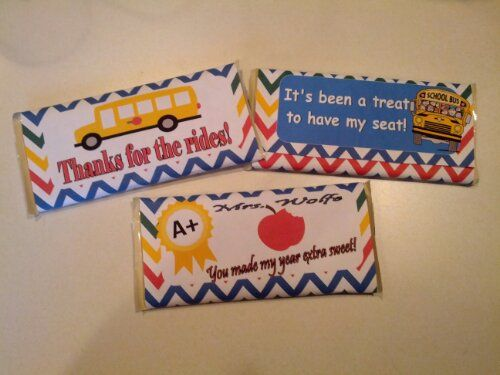 Large Candy Bar Wrapper for Bus Driver and a Teacher. Free ...