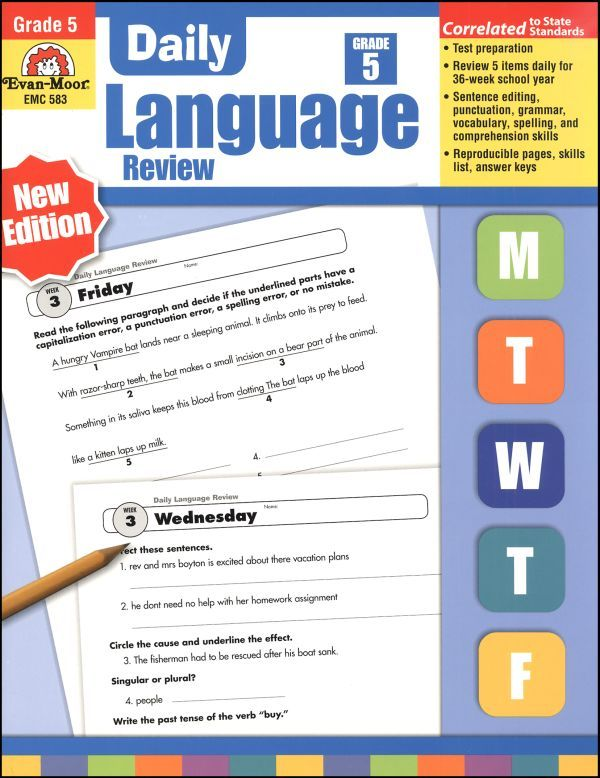 Daily Language Review Grade 5 | Daily drill activities homeschool