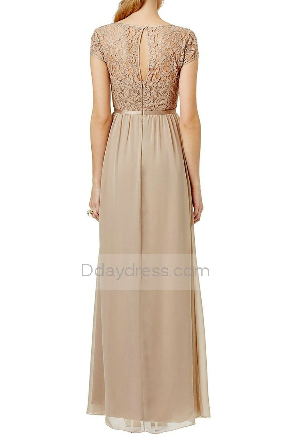 Vintage short sleeve lace top chiffon long bridesmaid evening dress