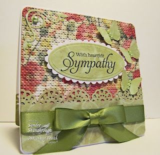With Heartfelt Sympathy  This card looks like material. I love the embossed designer paper.