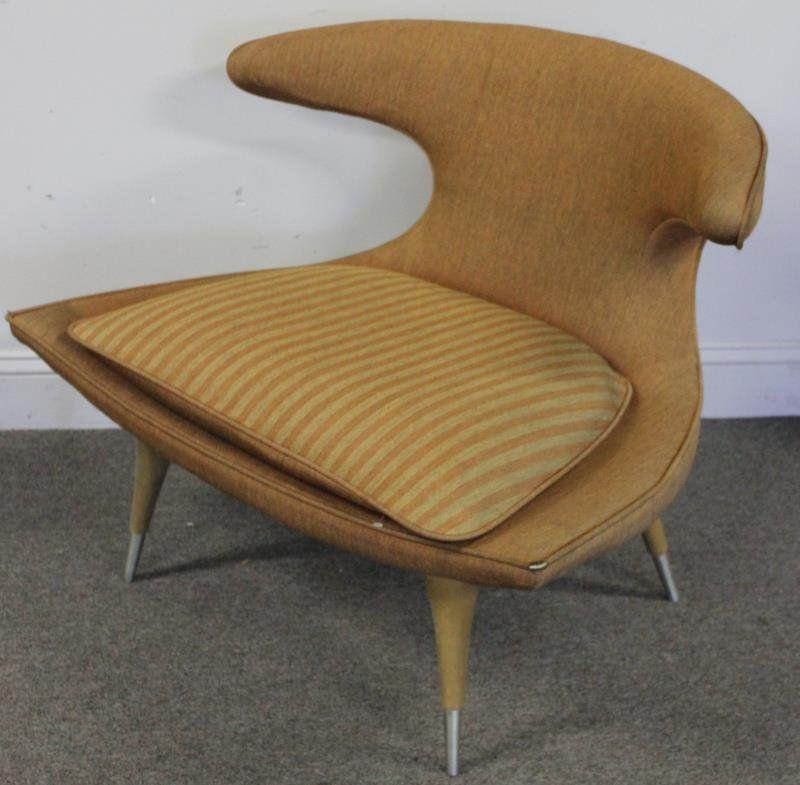 Incroyable C1950 Moderne Horn Back Chair, Pprlbl Karpen Furniture, Chicago, IL,