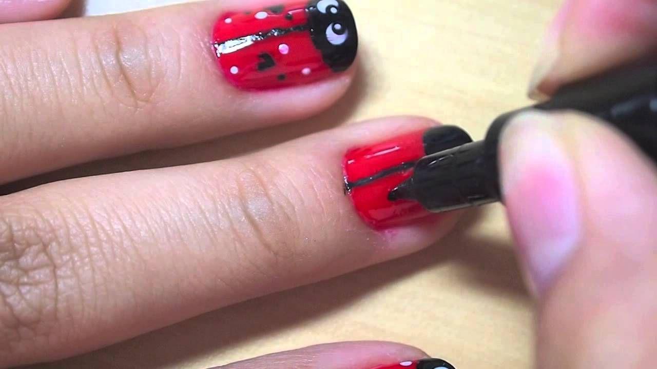 Ladybug nails Unhas de joaninha, Unhas, Meninas