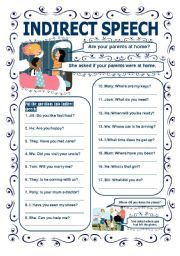 English worksheet INDIRECT SPEECH QUESTIONS Indirect