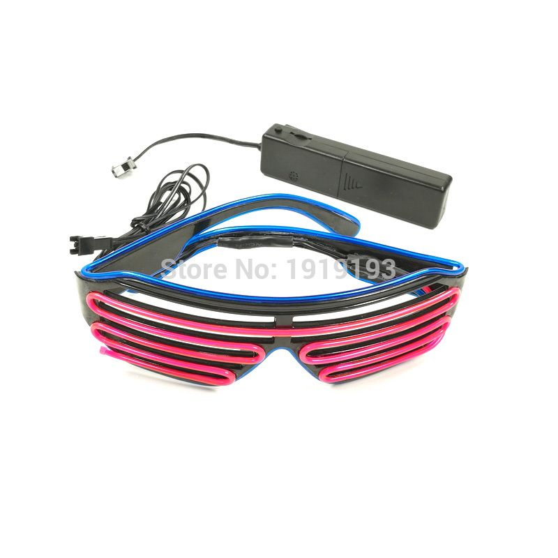 17 Style 2-Color EL Wire Light up LED Strip Shutter Glasses Neon ...