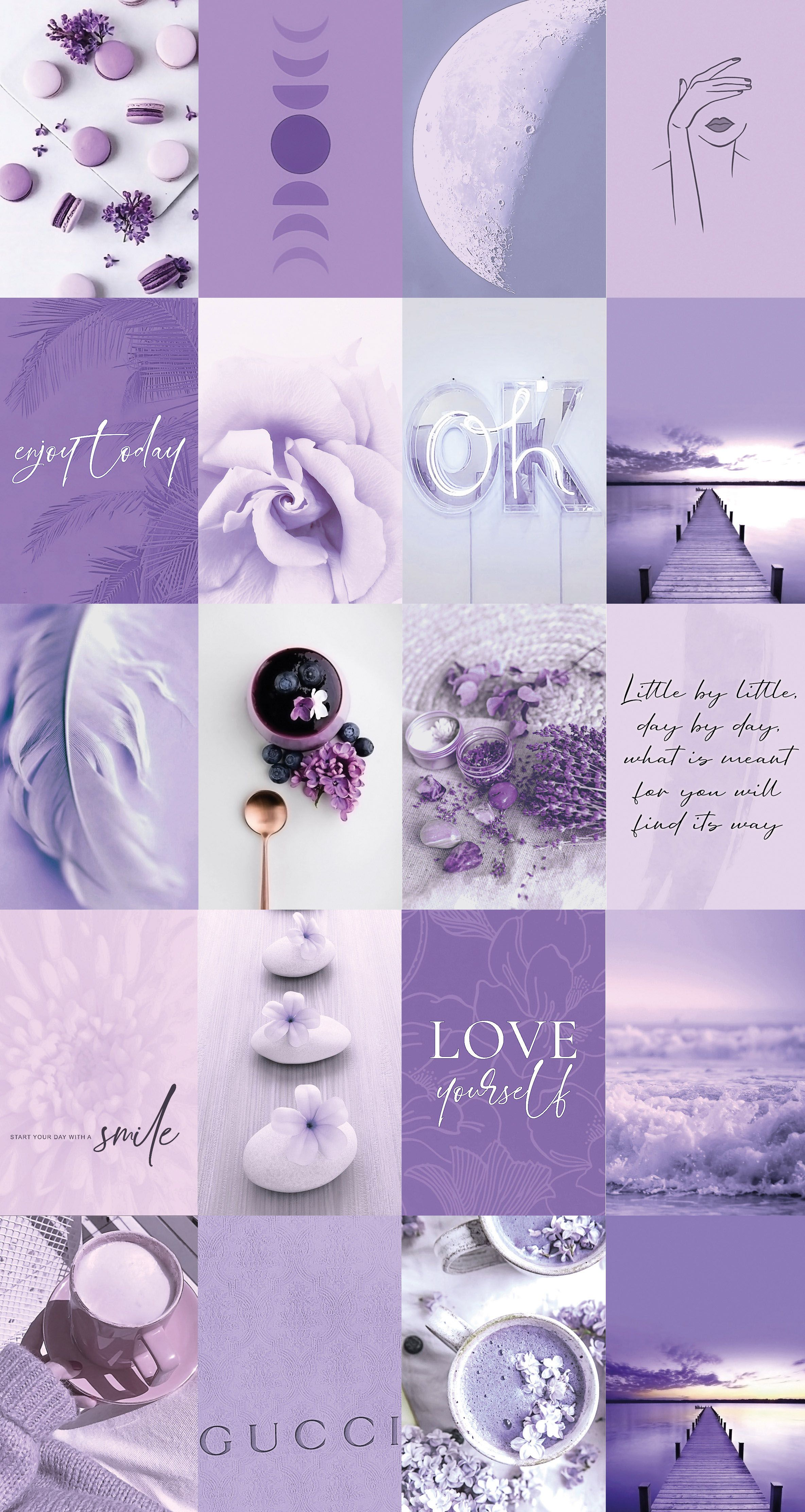 Decorate your dorm or room with this aesthetic lavender purple wall collage kit!