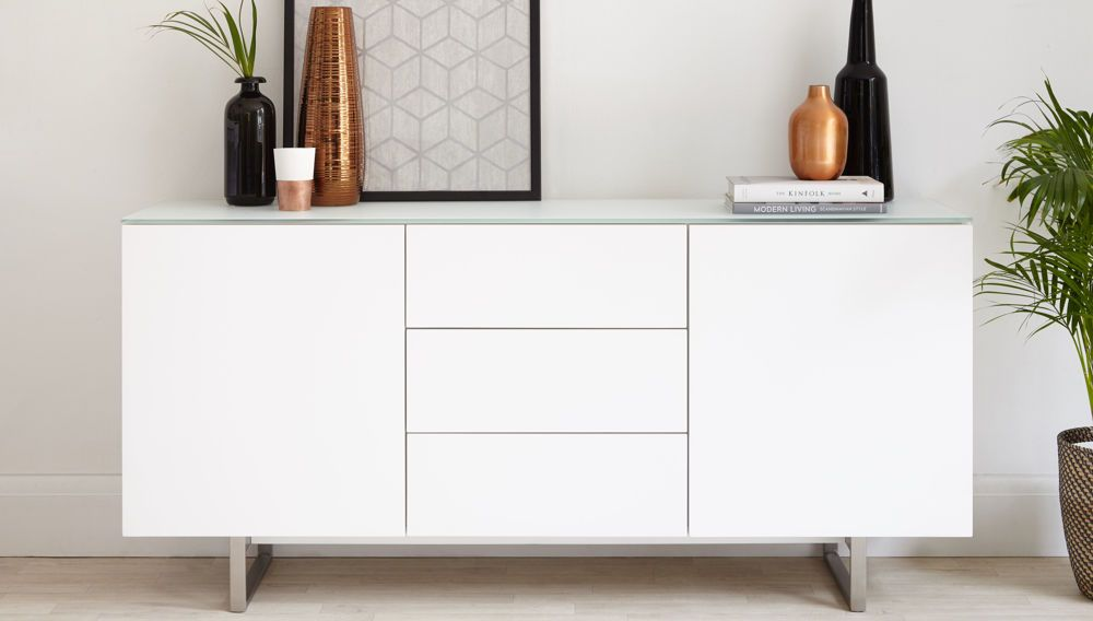 Eve Frosted White Glass And Matt White Sideboard Glass Sideboard