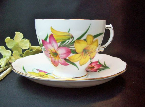 Vintage Royal Vale Teacup and Saucer,Made in England,Pink/Yellow Lilies Teacup & Saucer