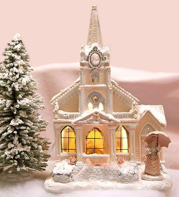 Chic Peach Pink Cameo Swarovski Crystal Church Shabby Christmas Village House   eBay