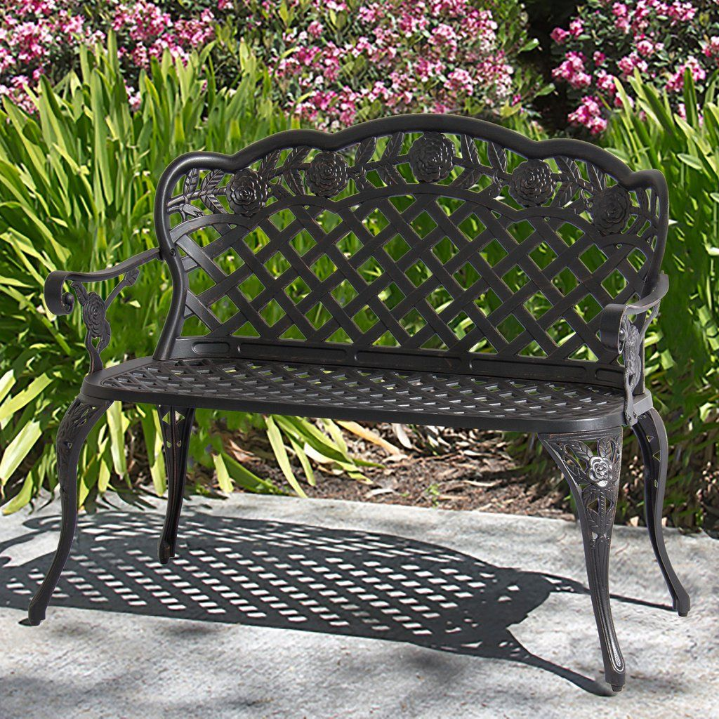Aluminum Bench For Patio Garden W Lattice Back And Seat Rose Detailing With Images Bench Decor Outdoor Garden Bench Garden Bench