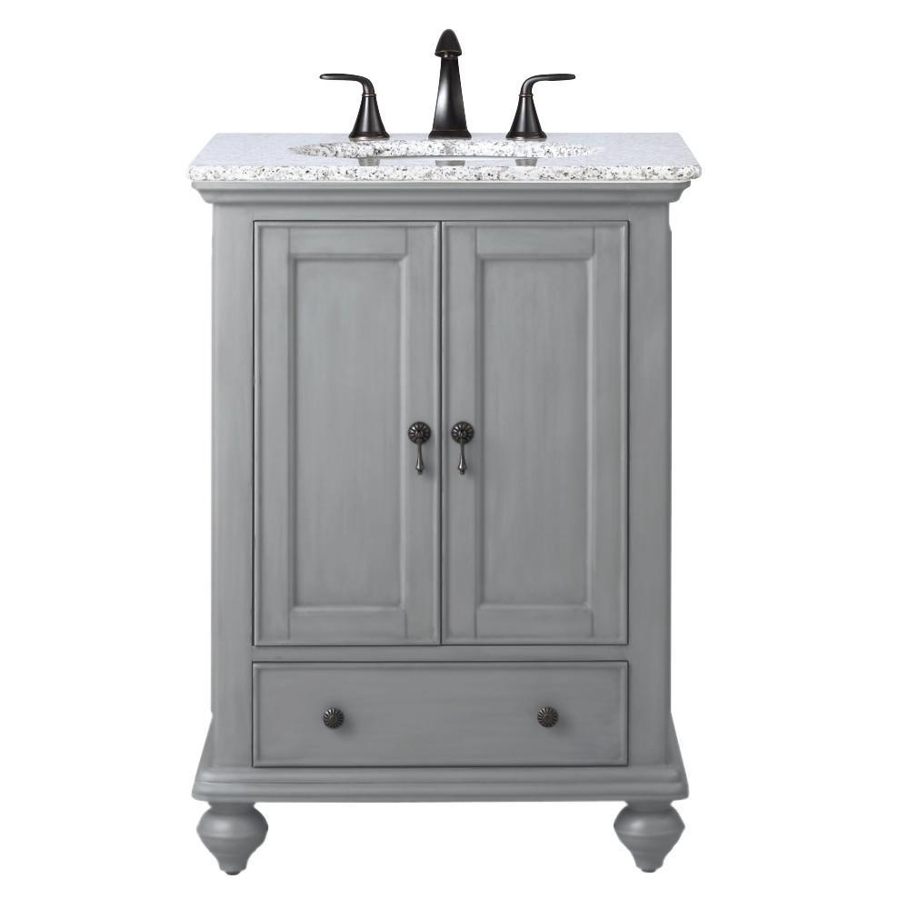 Home Decorators Collection Newport 25 In W X 21 1 2 In D Bath Vanity In Pewter With Granite Vanity Top In Grey 9085 Vs25h Pg The Home Depot In 2021 Granite Vanity Tops Bath [ 1000 x 1000 Pixel ]
