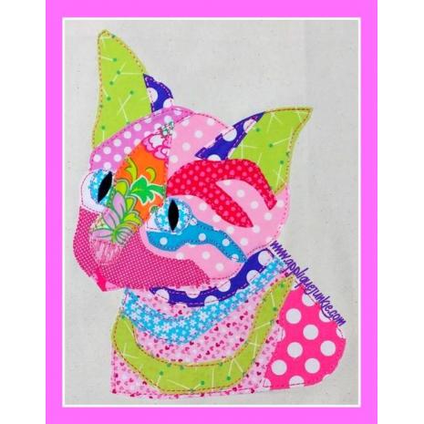 Girls :: Calico Striped Cat Applique Design