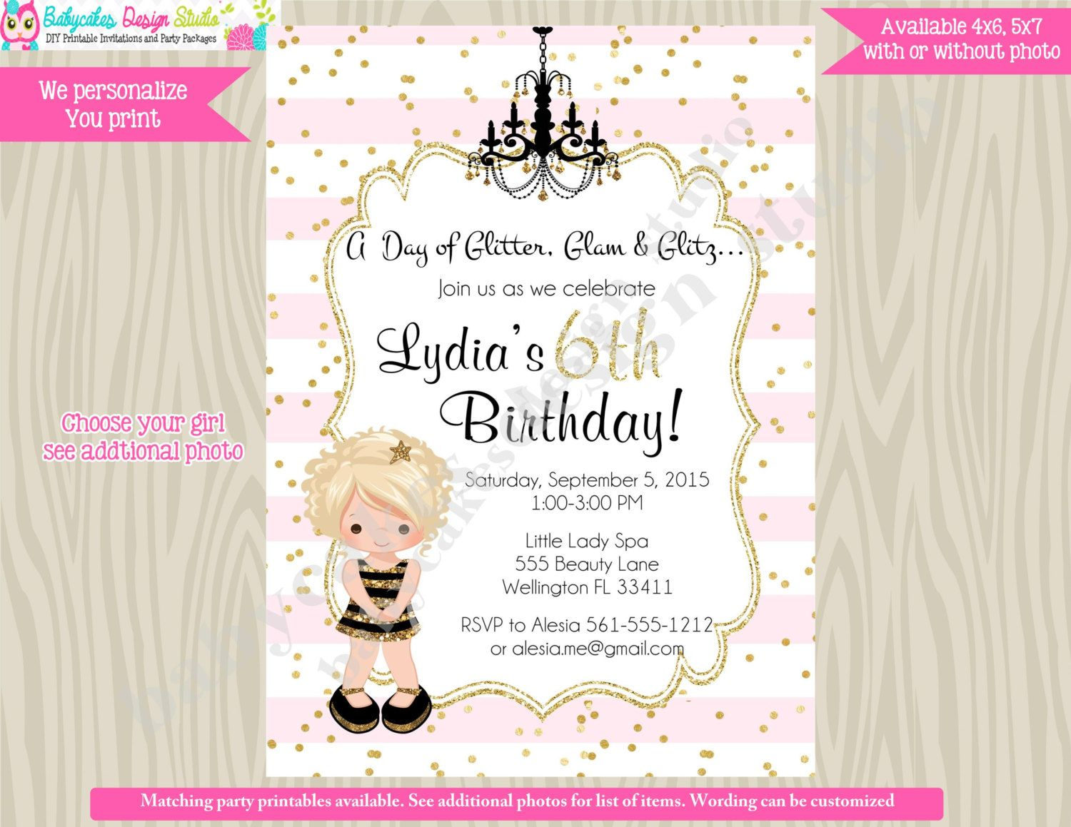 glamour party birthday invitation dress up party invite diva party ...
