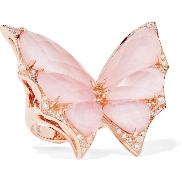Stephen Webster Fly By Night 18-karat rose gold, opal and diamond ring ($9,500) ❤ liked on Polyvore featuring jewelry, rings, accessories, pink cocktail ring, pink rose gold ring, butterfly ring, pink ring and 18k rose gold ring