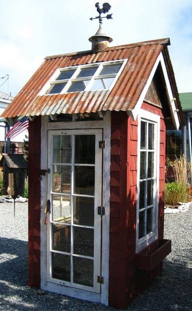 garden shed with sheet metal roof and salvaged windows and door i have windows doors - Garden Sheds From Recycled Materials