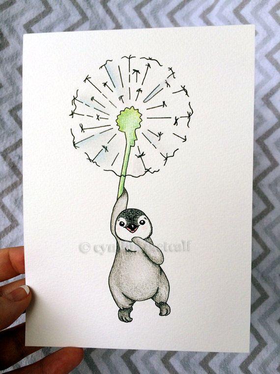 Original Drawing, Penguin Dandelion Nursery Art, Children's Wall Decor, Baby Art, Newborn Decor, Baby Penguin, Baby Animals, Animal Art