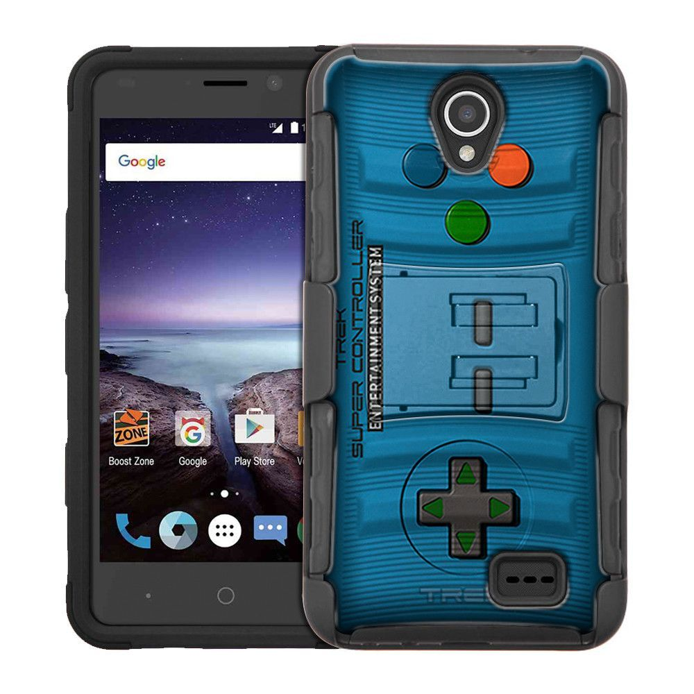ZTE Prestige 2 Armor Hybrid Case - Old School Retro TREK™ Super Controller Blue