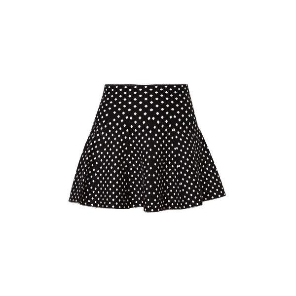 Kei&Kori Two Tone Polkadots Knitted Skirt (9.36 CAD) ❤ liked on Polyvore featuring skirts, black flared skirt, black skirt, elastic waist skirt, black print skirt and black knee length skirt