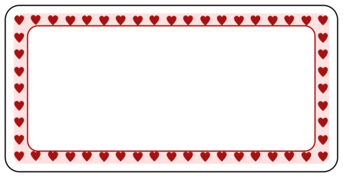 X   ValentineS Day Hearts Border Label  ValentineS Day