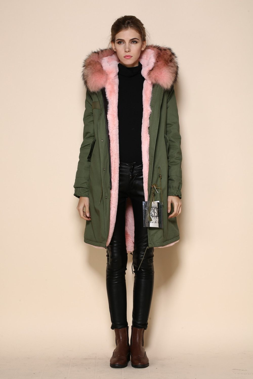 Aliexpress.com : Buy Long item Pink Down Womens Parka Coat 100 ...