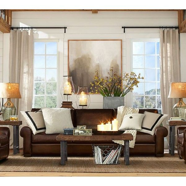 Pottery Barn Turner Roll Arm Leather Sleeper Sofa 2 799 Liked On Polyvore Featurin Leather Couches Living Room Brown Couch Living Room Living Room Leather