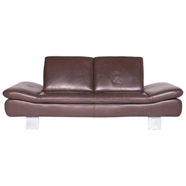 Leather Sofa Brown Two Seat Couch