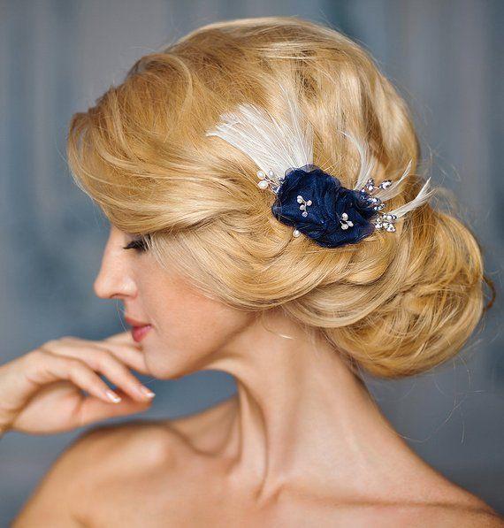 Wedding Hairstyles Examples: Navy Blue Bridal Headpiece, Something Blue
