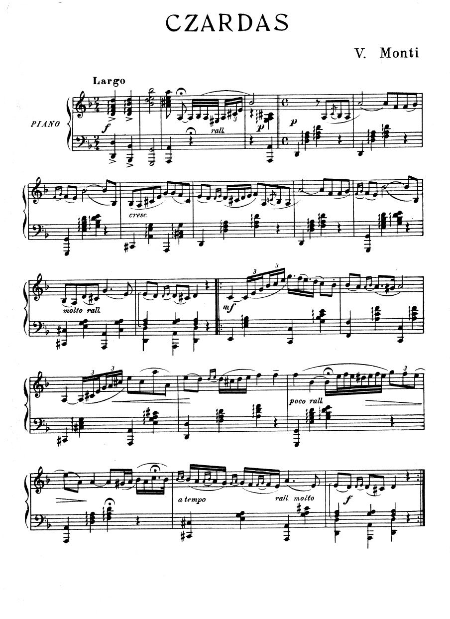 Czardas Monti Piano Piano Sheet Music Reading