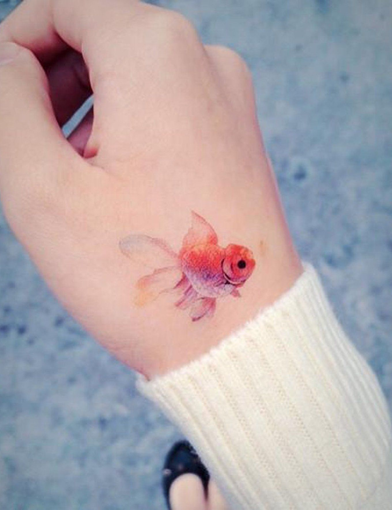 Small Simple Watercolor Goldfish Tattoo Ideas For Women At
