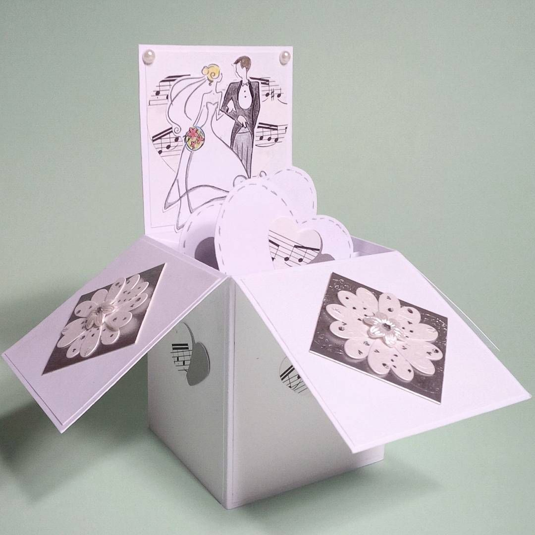greeting card in a box for a wedding it becomes flat and